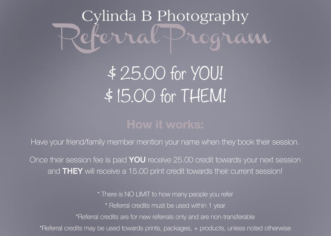 referral program, Cylinda B Photography, wedding photography, family photography